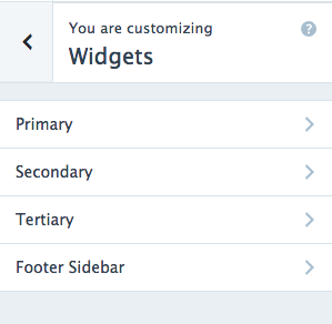 Under 'Primary' is a menu widget, added to which is a menu called 'primary'.
