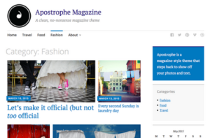 Apostrophe Magazine as shown in themes with a sidebar on the right.